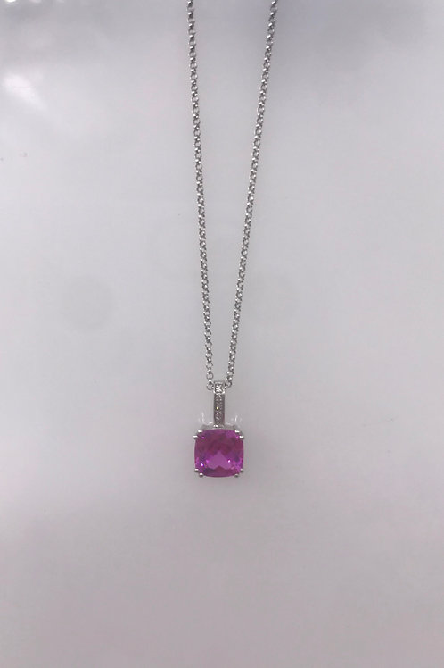 White Gold Pink Quartz Diamond Square Pendant
