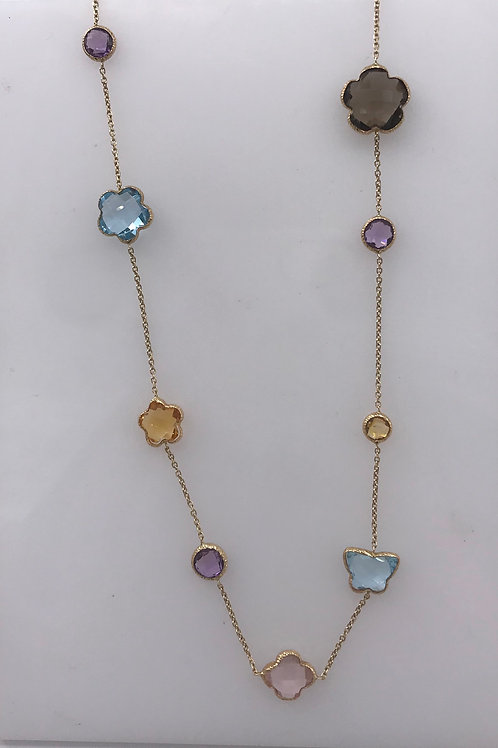 Yellow Gold Multi Colored Flower Station Necklace