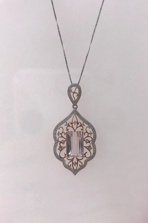 Filigree Rose White Diamond Kunzite Pendant