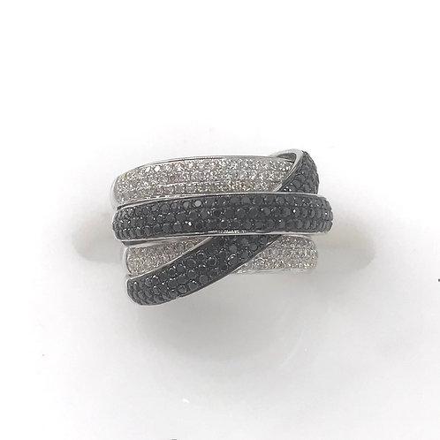 5 Line Crossover Black and White Diamond Ring