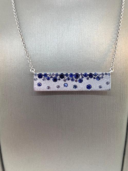 Sapphire confetti bar necklace
