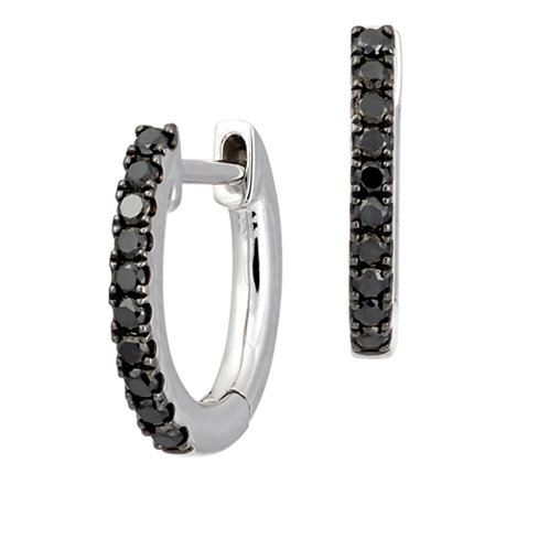 Black diamond huggie earring