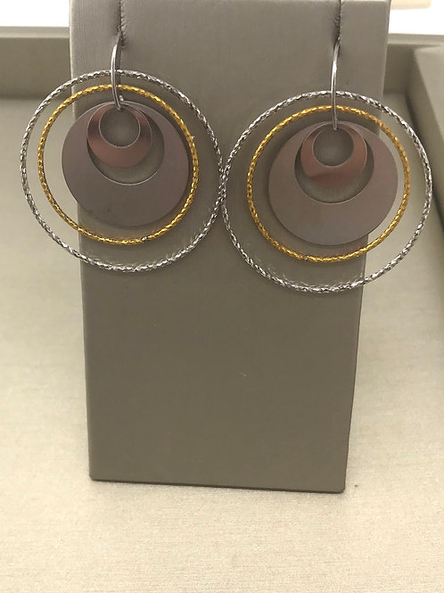Two Tone 4 Circle 18 Karat Plated Earring