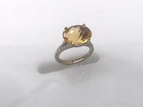 Large Oval Fancy Citrine Split Shank Diamond Ring
