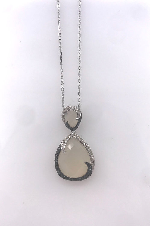 White Gold Black and White Diamond Pendant with Agate