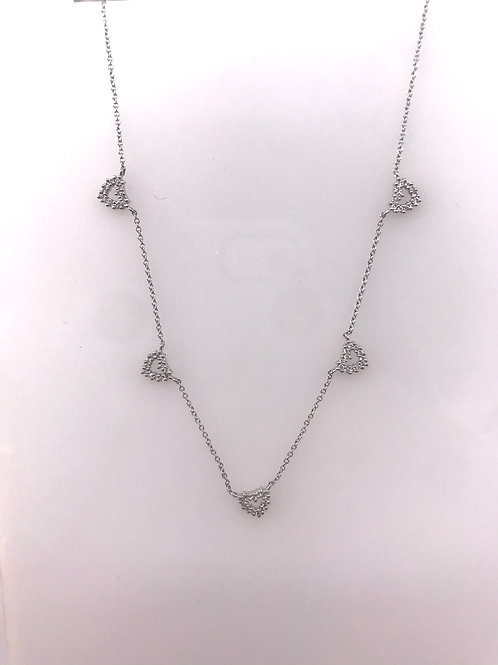 Five Section White Gold Diamond Heart Necklace