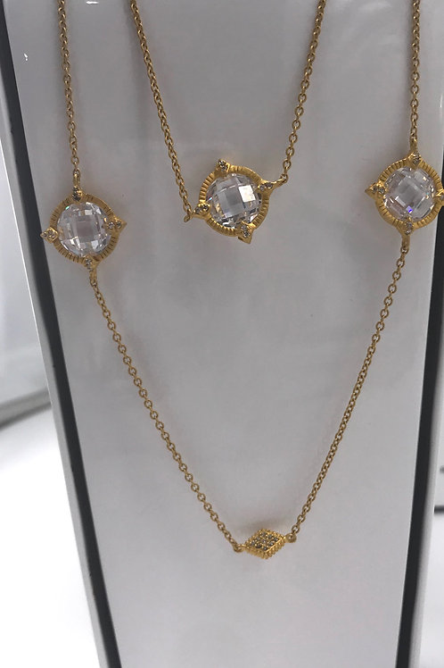 Freida Rothman Sterling Silver Yellow Mirror Stone Station Necklace