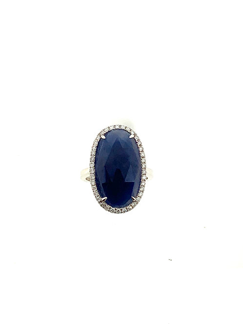 Oval slice sapphire ring