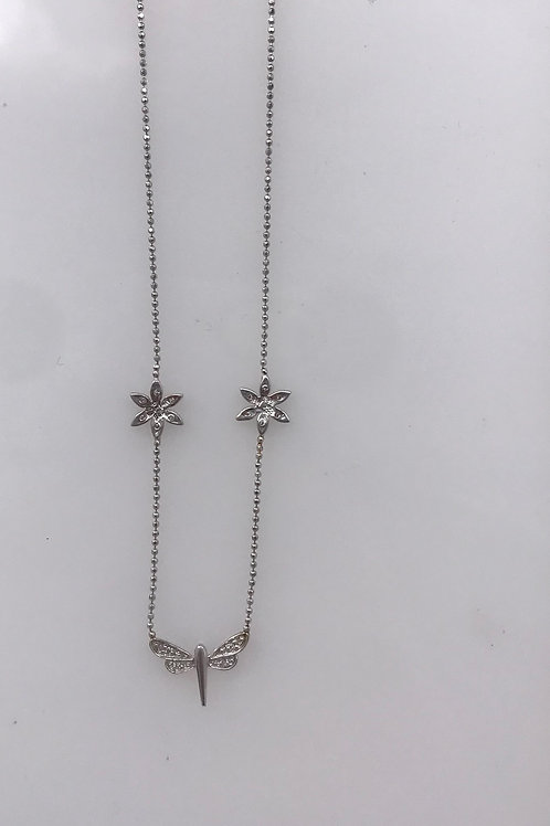 White Gold Diamond Dragon Fly Necklace