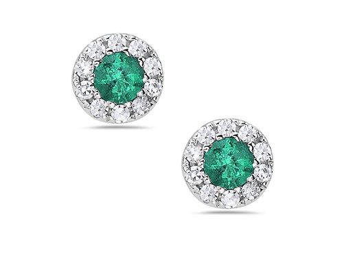 Emerald Halo Stud earring