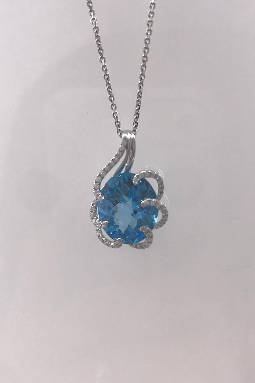 White Gold Blue Topaz Diamond Pendant