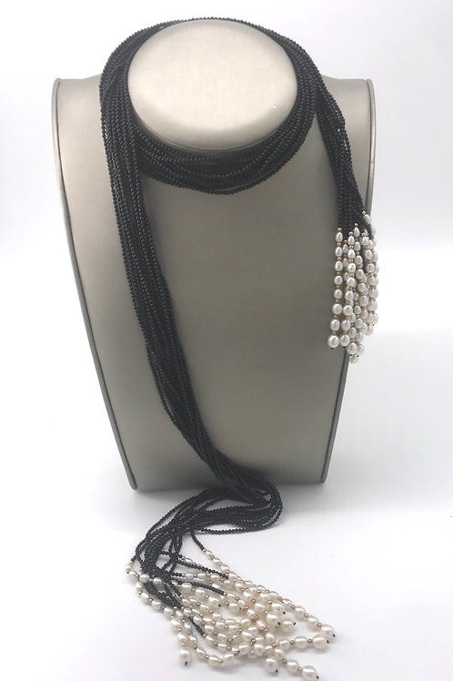 Black Onyx and Pearl Beaded Scarf Necklace