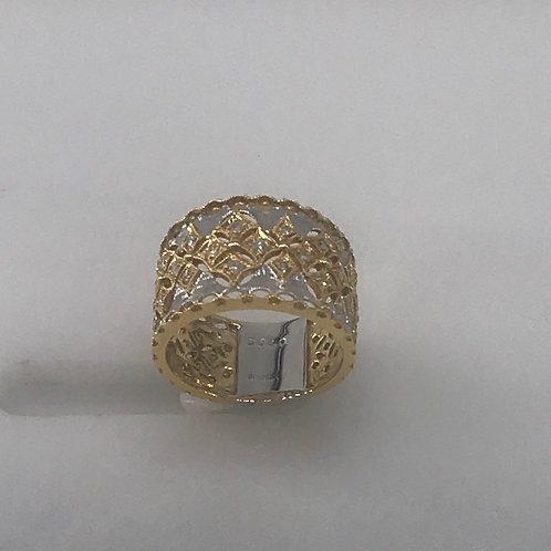 Wide Two Tone Diamond Vintage Cut Ring
