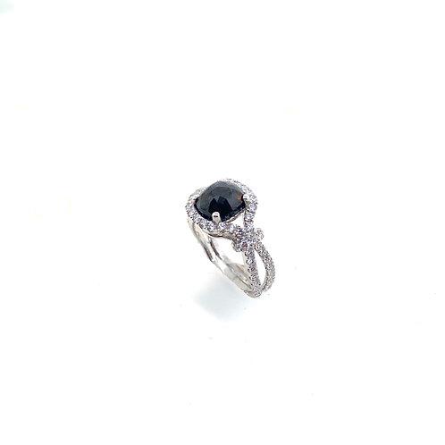 Faceted Black diamond ring