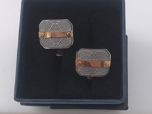 Stainless Steel Cufflinks with Pink Bar