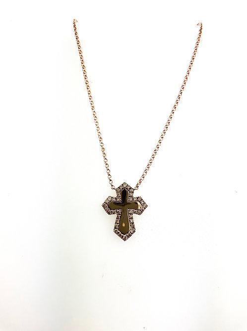 Rose gold diamond outline cross necklace