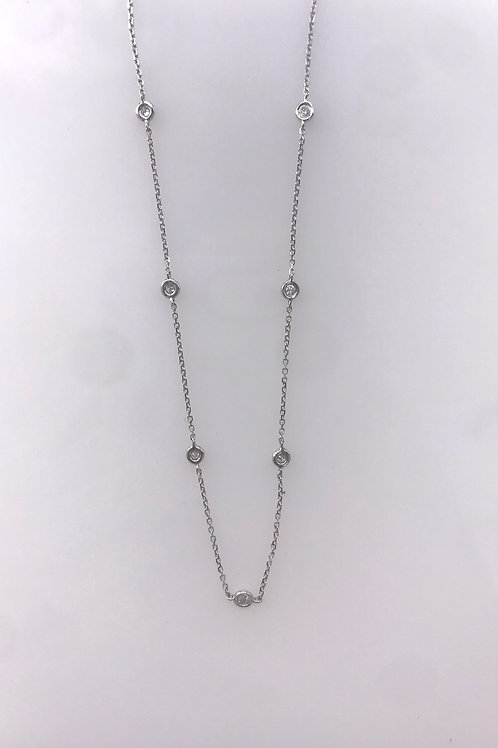 "16"" White Gold Diamond Station Necklace"