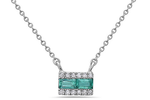 Emerald diamond bar necklace