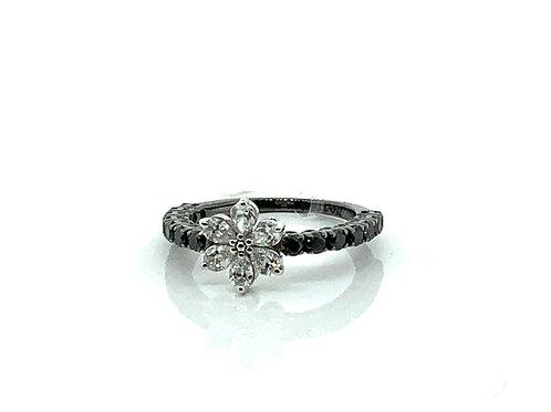 B&W flower diamond ring