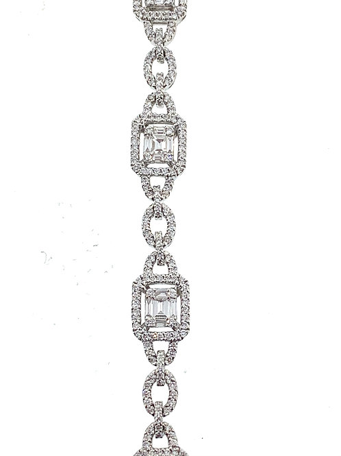 Diamond bracelet emerald cut mosaic