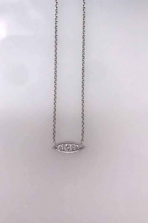 Marquee Shaped White Gold Diamond Necklace