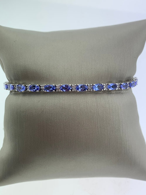 White Gold Tanzanite and Diamond Bracelet