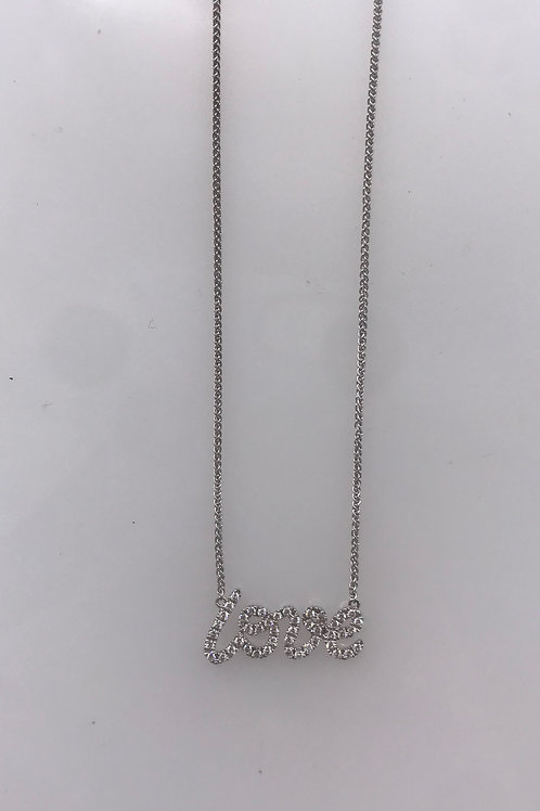 White Gold Diamond Love Necklace