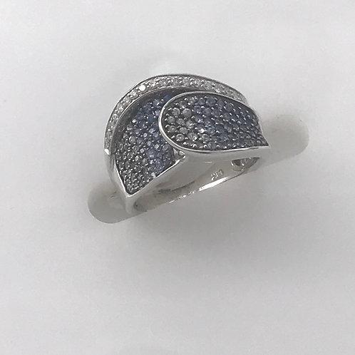 White Gold Blue Sapphire Diamond Fade Ring