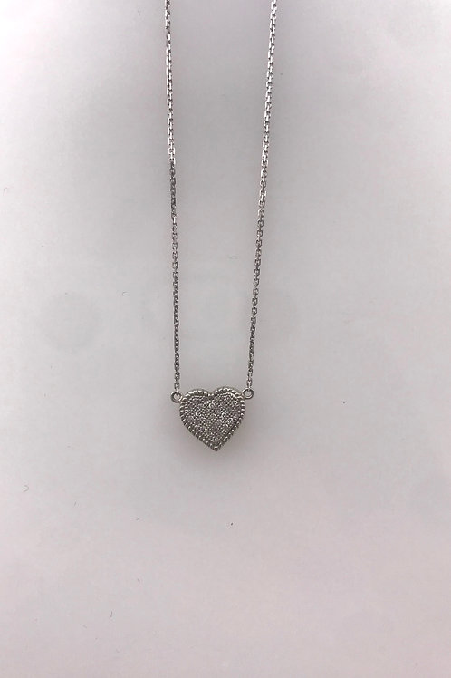 Small Pave Diamond Hear Necklace on White Gold Chain