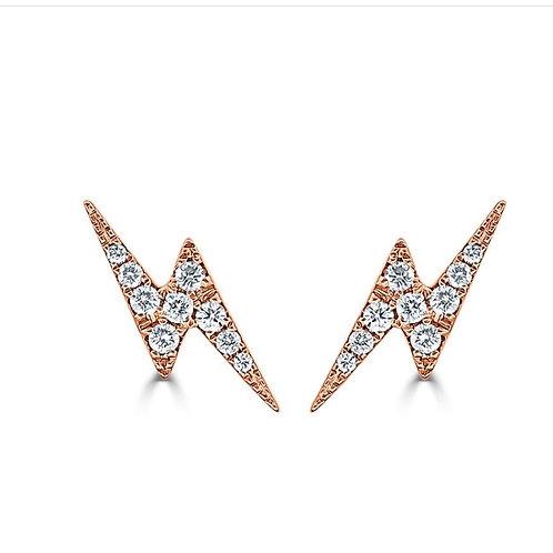 Diamond lightening bolt earring
