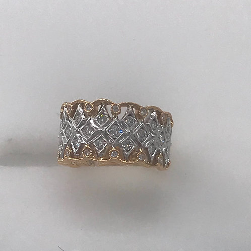 Filigree Wide Diamond Ring
