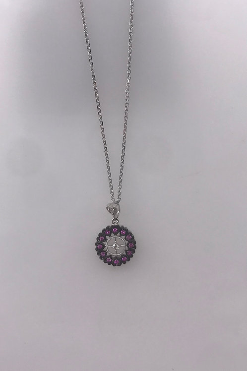 White Gold Black Rhodium Pink Circle Diamond