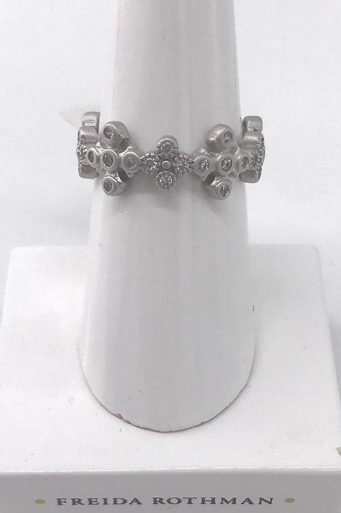 Freida Rothman Sterling Silver CZ White Clover Ring