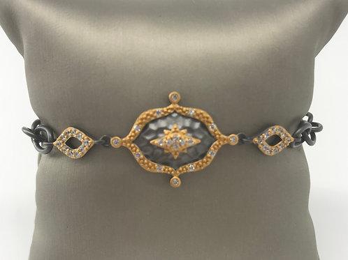 Freida Rothman Sterling Silver Hammered Star Station Line Bracelet
