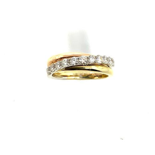 Tri-color three row diamond band