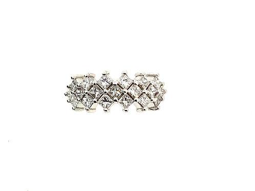 3 row princess cut ring