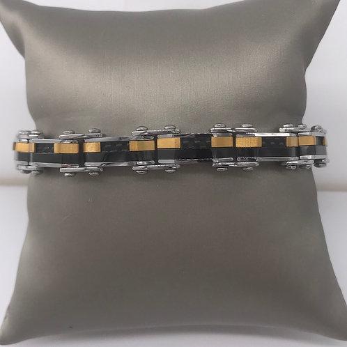 8 in. Micro Fiber Yellow Black Reversible Bracelet