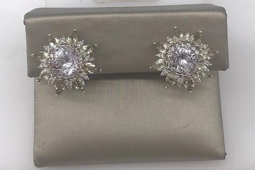 Large White Topaz Peridot Diamond Earring
