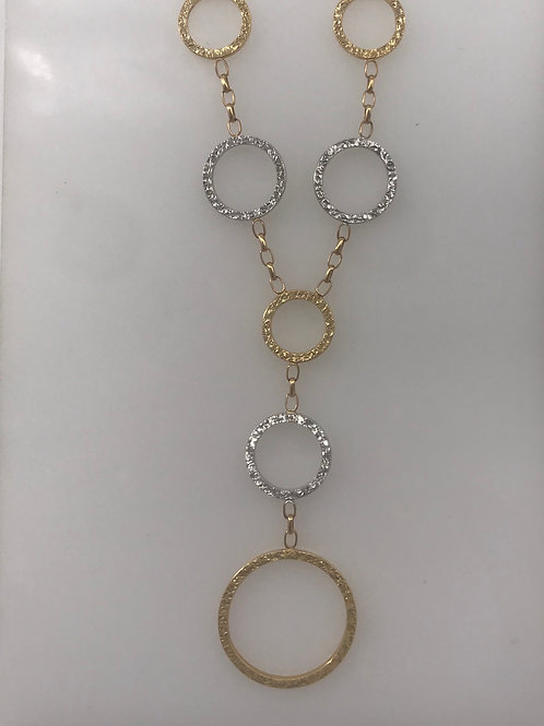 7 Circle Two Tone Gold Necklace