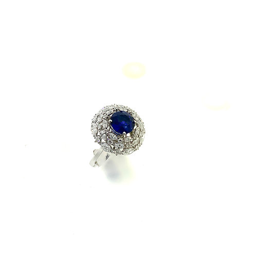 Triple halo sapphire ring