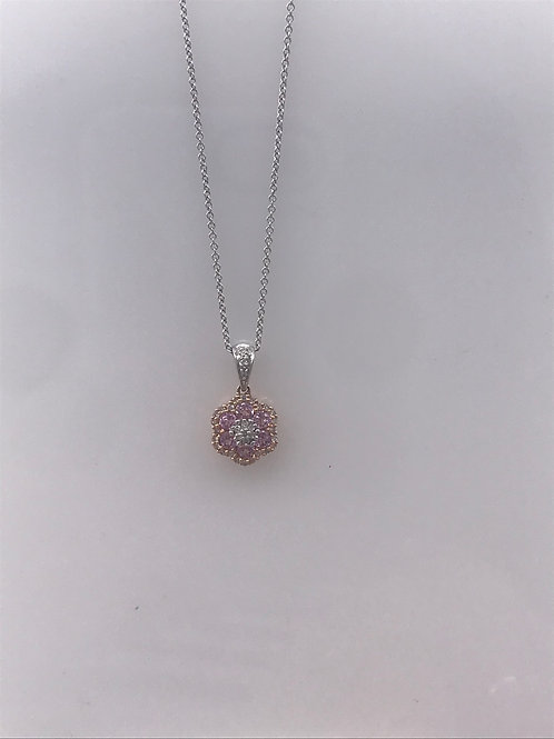 Yellow Gold Pink Flower Necklace