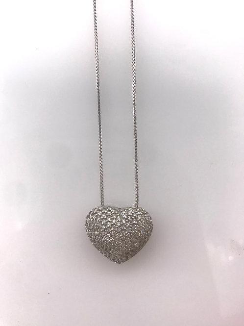 Large Pave Diamond Heart Pendant