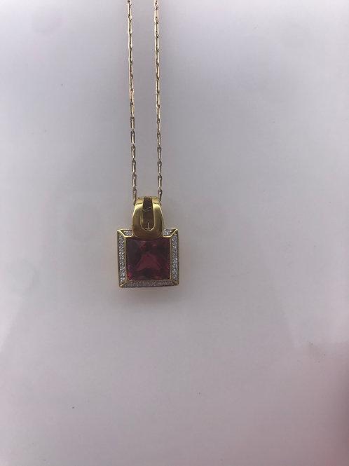 Square Rhodium Diamond Pendant Enhancer