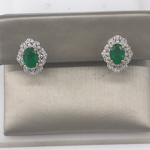 Oval Genuine Green Emerald Diamond Earring