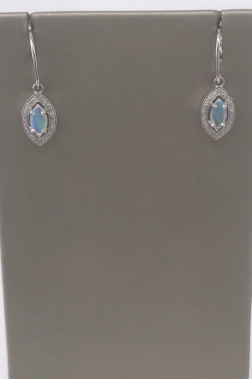 Marquee Opal Drop Earring with Halo