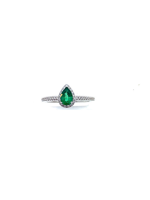 Diamond and pear emerald ring