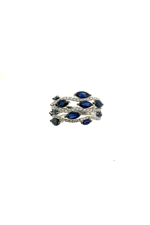 Sapphire wave ring