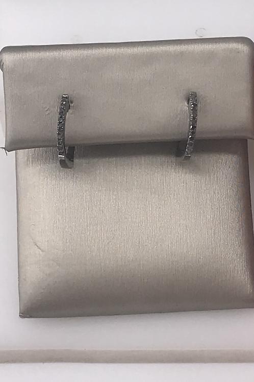 Small Black Diamond Hoop Earring