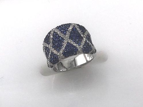White Gold Large Sapphire Diamond X Pave Ring