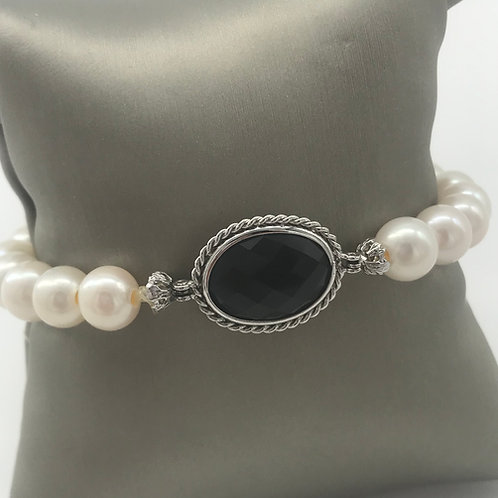 "7"" Sterling Silver Black Onyx Pearl Bracelet"